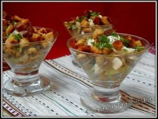 Salade de haricots blancs, champignons et croutons