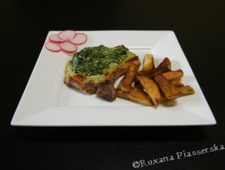 Côtelettes de porc sauce d'épinard – Chuletas en salsa de espinacas