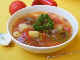Soupe à la viande avec des poivrons – Мясной суп с болгарским перцем